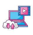 laptop cloud data storage video player vector image vector image