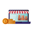 laptop with tent and coins isolated icon vector image vector image