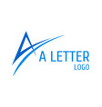 letter a logo with swoosh vector image vector image