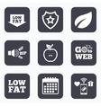 Low fat icons Diets and vegetarian food signs vector image vector image