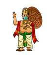 mahabali also known maveli wearing a medical mask vector image vector image
