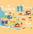 map of osaka vector image vector image