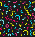 memphis style seamless pattern on dark background vector image vector image