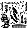 monochrome set of accessories and tools vector image