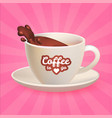 realistic 3d coffee cup with splash splashing out vector image