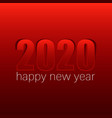 red happy new year 2020 concept with paper cuted vector image