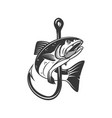 salmon and fishing hook design element vector image vector image
