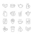 set coffee and tea line icons contains such vector image