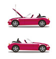 set of broken cartoon pink cabriolet sport car vector image