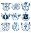 set of old style heraldry emblems vintage vector image vector image