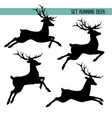set silhouette running deer vector image
