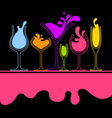 silhouette splash wine glass vector image vector image