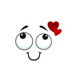 smiling emoji dreaming about love with hearts vector image