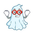 super hero cute ghost character cartoon vector image vector image