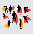 Superman and supergirl silhouettes vector image vector image