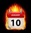 tenth january in calendar burning icon on black vector image vector image