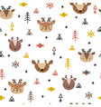 tribal seamless pattern with cartoon deers vector image vector image