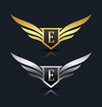 wings shield letter e logo template vector image