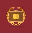 golden badge with laurel wreath vector image