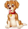 Cartoon funny dog sitting with tongue out vector image
