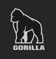 gorilla monochrome logo on a dark background vector image