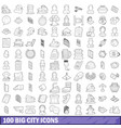 100 big city icons set outline style vector image