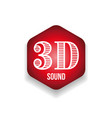 3d sound sign red hexagon vector image
