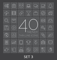 40 Trendy Thin Line Icons for Web and Mobile Set 3 vector image