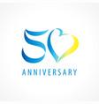 50 anniversary logo heart vector image vector image