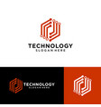 abstract technology logo design image vector image