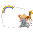 banner design with wild animals and rainbow vector image vector image