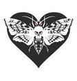 banner with butterfly dead head on the heart vector image vector image