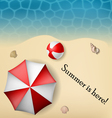 Beach text frame with umbrella and ball