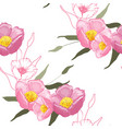 blooming realistic garden flowers handdrawn style vector image vector image