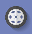 Car wheel icon Flat style vector image vector image