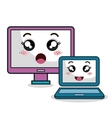 cartoon laptop and monitor technology digital vector image vector image