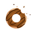 chocolate donut isolated on white background vector image
