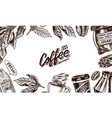 coffee background in vintage style hand drawn vector image vector image