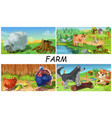 colorful farm animals concept vector image vector image