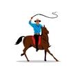 cowboy and horse cartoon vector image