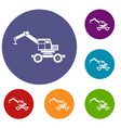 crane truck icons set vector image vector image