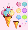 cute tasty ice cream cone creator set vector image