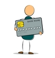 Drawing man standing holding his credit card vector image