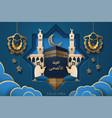 eid al-adha calligraphy and man near kaaba stone vector image vector image