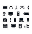 electronic gadgets silhouette icons set stylish vector image