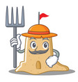 farmer sandcastle character cartoon style vector image
