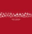 festive white seamless snowflake border on red vector image