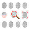 fingerprints or fingertip print identification vector image vector image