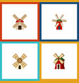 flat icon energy set of windmill propeller power vector image