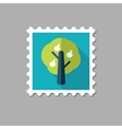 Fruit tree flat stamp with long shadow vector image